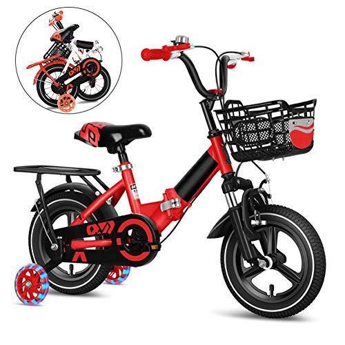 Bici Plegable para Niños y Niñas, 12-14-16-18 Pulgadas Bikes Infantil, Bicicleta Infantil Plegable con Ruedines y Frenos/Rojo / 14''