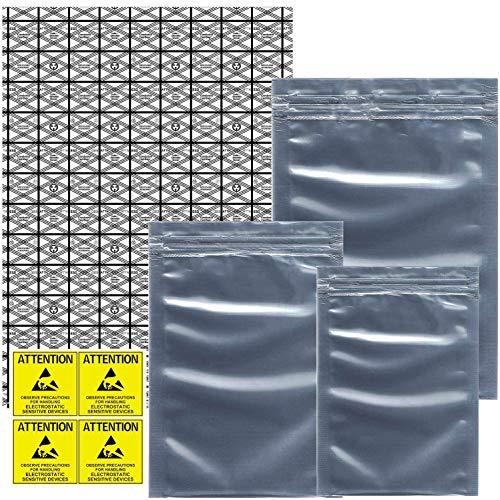 Larcenciel Antistatische Beutel ESD-Abschirmbeutel mit Etiketten,55-teilige gemischte Größen Open Top Große wiederverschließbare antistatische PVC-Beutel für SSD