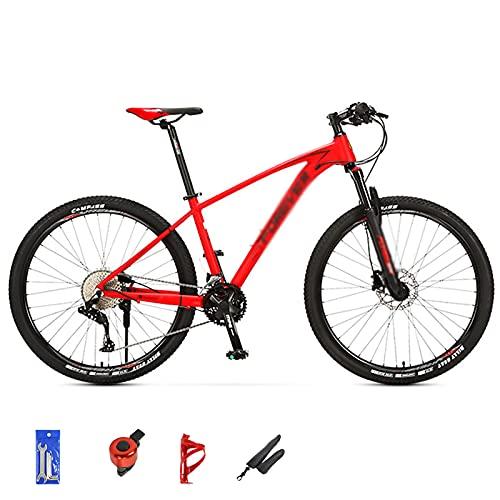 WANYE 26/27.5/29 Pollici Mountain Bike 33 velocità MTB Bicicletta con Forcella Ammortizzata, Freno a Doppio Disco, Parafanghi Urban Commuter City Bicycle, Grigio/Rosso red-29inches
