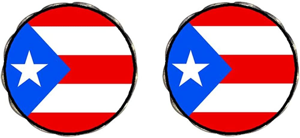 GiftJewelryShop Bronze Retro Style Puerto Rico flag Photo Clip On Earrings Flower Earrings 12mm Diameter