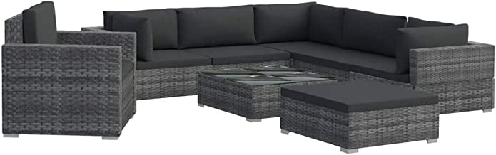 vidaXL Garden Lounge Set with Cushions 8 Piece Outdoor Furniture Set Wicker Sectional Sofa Seat Backyard Patio Seating Pol...