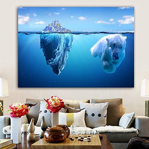 Zeewater witte beren landschap poster muurkunst canvas kunst woonkamer woonkamer decoratie frameloos schilderwerk