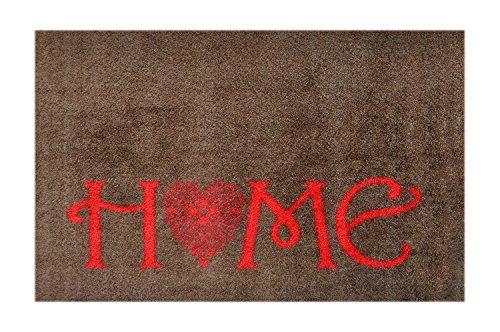 LifeStyle-Mat Designer Fussmatte Willkommen – Fussmatten rutschfest und waschbar – Schmutzfangmatte/Fussabstreifer – ROT BRAUN 50x75 cm