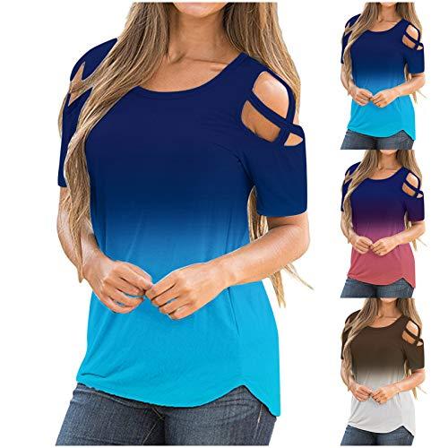 NMSLCNM T-Shirt Damen Sommer Oberteile Kurzarm Tee Tops Casual mit O-Ausschnitt und Farbverlauf Shirt Hemd Bluse Female Teenager Mädchen Tshirt Kalte Schulter Sexy Loose Oversize Shirt Oberteile