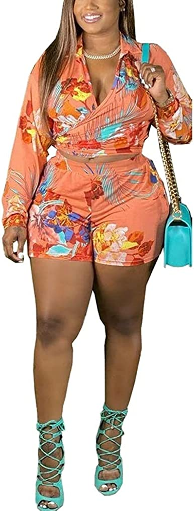 DYTD Plus Size Womens Floral Printed 2 Piece Outfits Sets Knot Tie Up Long Sleeve T Shirts and Bodycon Short Bike Shorts