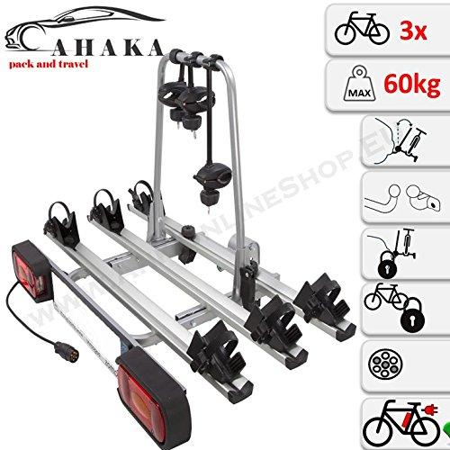 AHIRO3 Anhängerkupplung Fahrradträger für 3 Fahrräder abklappbar abschließbar aus Stahl und Aluminium