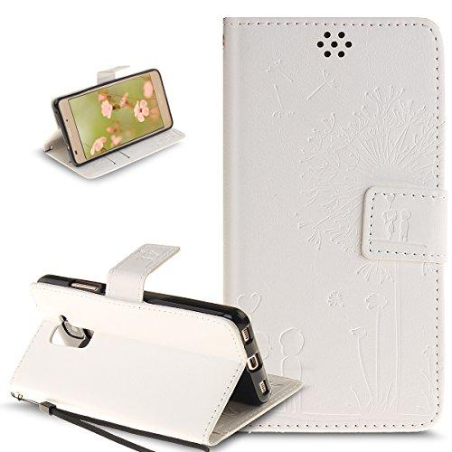 Kompatibel mit Schutzhülle Huawei Honor 5C Hülle Lederhülle Handyhülle,Prägung Liebe Löwenzahn Liebhaber PU Lederhülle Handyhülle Tasche Handytasche Flip Wallet Ständer Schutzhülle,Weiß