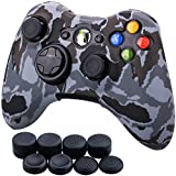 xbox 360 skins for console camo - 9CDeer 1 Piece of Silicone Water Transfer Protective Sleeve Case Cover Skin + 8 Thumb Grips Analog Caps for Xbox 360 Controller, Grey Camouflage