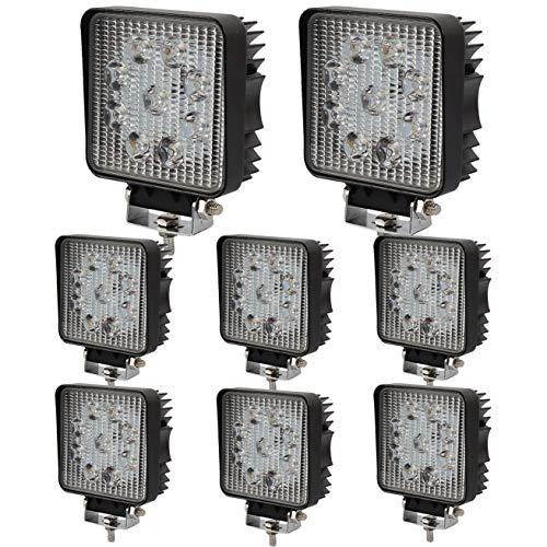 BRIGHTUM 27W LED Arbeitsscheinwerfer weiß 12V 24V 2140Lumen Reflektor worklight Scheinwerfer Arbeitslicht Offroad SUV UTV ATV Arbeitslampe - Traktor - Bagger (8 Stück)