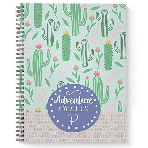 """Adventure Awaits Personalized Motivational Notebook/Journal, Laminated Soft Cover, 120 Dot Grid pages, lay flat wire-o spiral. Size: 8.5"""" x 11"""". Made in the USA"""