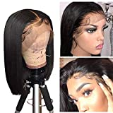 10a Short Bob Wigs for Black Women Straight Human Hair Wigs Pre Plucked with Natural Hairline Glueless Brazilian Virgin Remy Lace Front Human Hair Wigs (150% Density 14inch KADOYEE HAIR)