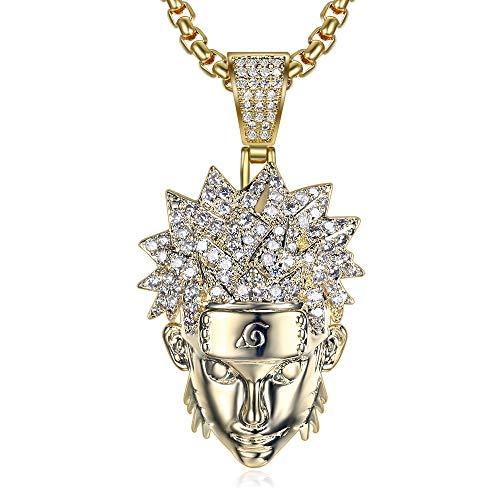 Moca Jewelry Iced Out Uzumaki Naruto colgante de cadena chapada en oro de 18 quilates con diamantes de imitación, collar de hip hop para hombres y mujeres (oro)