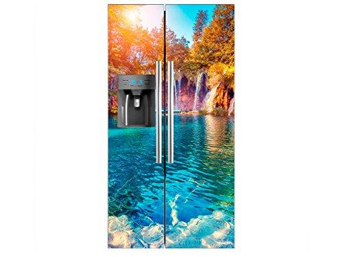 Oedim - Vinile Frigorifero Americano Cascadas | 90 x 180 cm | Diverse misure | Adesivi per frigorifero economici ed eleganti | Vinile frigo