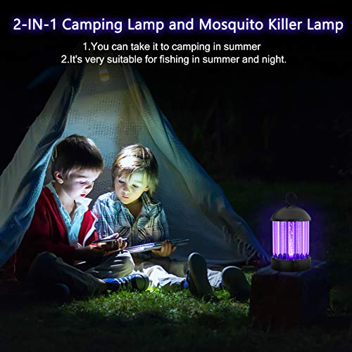 OKK Portable Electronic Indoor Insect Killer, Powerful Bug Zapper with 10 Hours Working Time and Mosquito Killer Safety 3-in-1 Light 360 Degree Outdoor Mosquito Trap for Home, Garden, Camping,Fishing