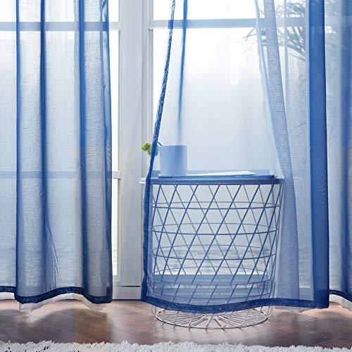 MIULEE 2 Pizasas Cortinas Poliéster Ojales Cortina Translucida de Dormitorio Moderno Ventana Visillos Salon para Sala Cuarto Dormitorio Comedor Salon Cocina Salón 140 x 215 cm Azul Oscuro