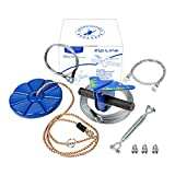 CTSC 110 Foot Zipline Kit with Stainless Steel Spring Brake and Seat, Ziplines for Backyards, Bring Colorful Fun and Enjoyment with The Most Complete Accessories Zipline(Up to 250lb) (B - Blue)