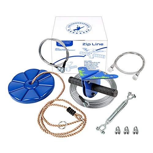 CTSC 110 Foot Zipline Kit with Stainless Steel Spring Brake and Seat, Ziplines for Backyards, Bring...