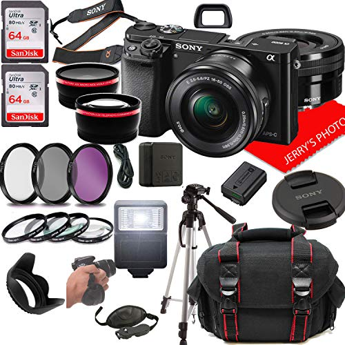Sony Alpha a6000 Mirrorless Digital Camera with 16-50mm Lens + Case + 128GB Memory (25pc Bundle)
