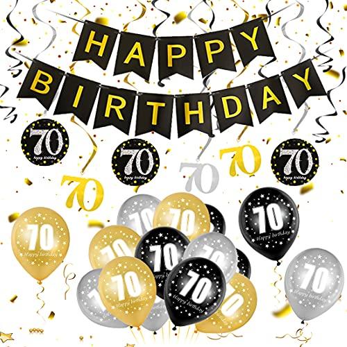 70 Oro Negro Plata Globos Cumpleaños Decoracione, 70 Años de Antigüedad Fiesta de Cumpleaños Decoraciones, 70 Oro Negro Plata Globos Decoración Hombres y Mujeres, 70 Cumpleaños Adorno en Espiral