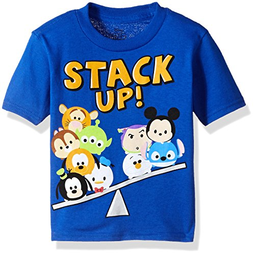 Disney Toddler Boys' Tsum Stack up Short Sleeve T-Shirt, Royal, 4T
