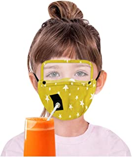 Aadiju Adult Reusable Drinking Face Mask with Hole for Straw and Detachable Eyes Shield