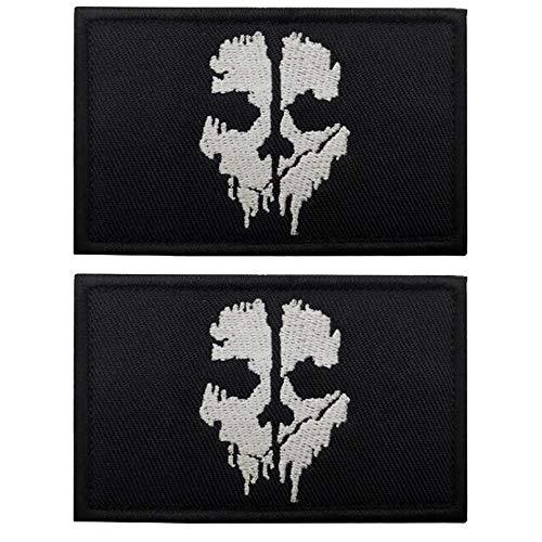 Call of Duty Geisterschädel bestickte Aufnäher Applikationen Abzeichen mit Verschluss Klettverschluss Rückseite