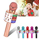 Verkstar Wireless Karaoke Microphone, Bluetooth Handheld Karaoke Singing Microphone Speaker, Portable Mic Player with LED Lights for Christmas Birthday Gifts Home Party