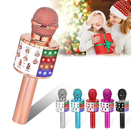 Verkstar Wireless Karaoke Microphone, Bluetooth Karaoke Speaker Mic Toy for Kids Adults Birthday with LED Lights and Recording Magic Sing Portable Handheld Karaoke Machine