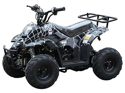 110cc ATV Four Wheelers Fully Automatic 4 Stroke Engine 6 Inch Tires Quads for Kids Spider Black