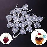 GBSTORE 50 pipetas de plástico con forma de corazón de 4 ml, aptas para chocolate, magdalenas, fresas
