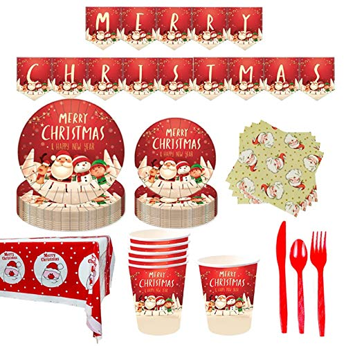 118PCS Christmas Party Disposable Tableware Set, Christmas Party Supplies with Christmas Banner, Plates, Cups, Napkins, Tablecloth, Straws, for Christmas Themed Holiday Party Decoration - Serves 16