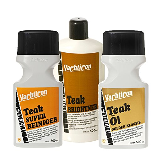 Yachticon Teakholz Reiniger Set - Super Reiniger Brightner Entgrauer Teaköl