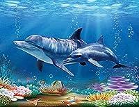 タペストリー 面白いイルカの水中風景の背景おしゃれ 北欧 和風 装飾布 曼陀羅 大判 布ポスター 多機能壁掛け 新居祝い 150x200cm/59*79inches