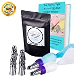 Piping Tips 21 PC Kit: (Ball Tip Set), Cupcake Kit, Icing Nozzle, 9 Tips, 1 Reusable Pastry Bag, 1 Coupler, 10 Pastry Bags, eBook Guide w/ Recipes - Great for Cake / Cupcake Decorating