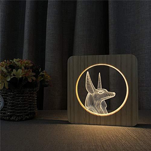 Ägyptischer Pharao Acryl Holz Nachtlicht Tischlampe Schalter Steuerung Gravur Lampe für Freunde Geschenk