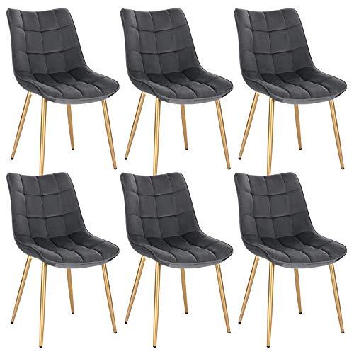 EUGAD 0671BY-6 Esszimmerstühle 6er Set Küchenstuhl Polsterstuhl Retro Design Wohnzimmerstuhl mit Rückenlehne, Samt Sitzfläche, Gold Beine, Grau
