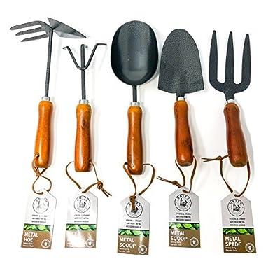 Unity 5-Piece Premium Medium Duty Garden Tool Set - Ergonomic Wooden Handles - Anti-Rust - Strong And Durable - Garden Tested