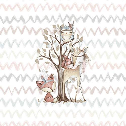 Süßes Panel mit Tiere (small) aus der Waldfreunde Serie – Sommersweat/French Terry/Ganzjahressweat – Eule Rehe Waschbären Füchse Hasen Eichhörnchen – Ökotex - Kinderstoffe für Mädchen und Jungs