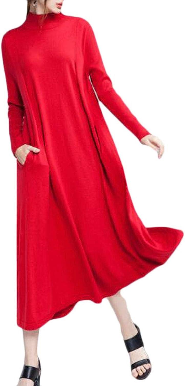 Sweatwater Women Sweater Knit Mock Turtle Neck Casual Long Sleeve Maxi Dress