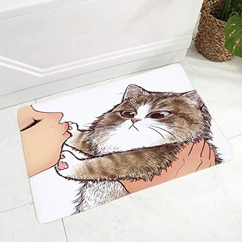 OPLJ Divertido Amor Beso Lindo Gato de Dibujos Animados Felpudo Antideslizante antiincrustante Alfombra decoración Lavable Piso Felpudo A18 40x60cm