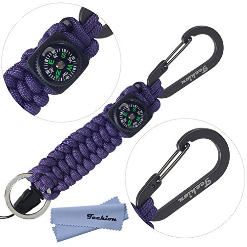 Techion Paracord Survival Keychain Compass, [60-inch Disassembled Length] 7-inch Braided Strong Paracord Keychain with Key Ring, Compass, Carabiner and Quick Release Clip(Purple)