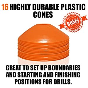 Premium Agility Ladder and Cones - 20 Field Cones - 12 Rung Speed Ladder - 19ft Length - Speed Training Equipment for Football, Soccer & other Sports - Set of 4 Metal Pegs & Carrying Bag