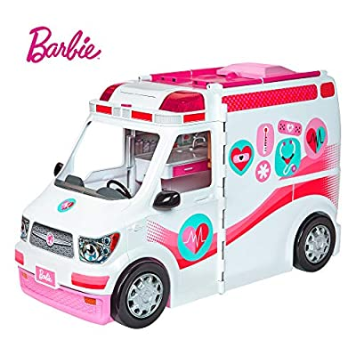 Barbie FRM19 Careers Care Clinic Ambulance, Play, Role Model, Lights and Sounds, Lots of Accessories Vehicle, Multi-Colour, 0 by Mattel