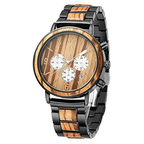 TJW Wood Wrist Watch | Classic Collection Analog Watch | Wood and Stainless Steel Watch (Zebra Wood)