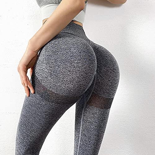 WENHUA Pantalón de Yoga Mujer Pierna Salón Bootcut Leggings, Caderas Ajustadas sin Costuras Cintura Alta Secado rápido Force-Gray_S, Barriga Entrenamiento Running Fitness Estiramiento Yoga