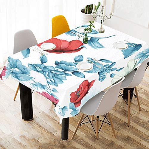 Enhusk Panos de Mesa Flor de Granada Estampado de algodon Rosa Manteles de Mesa Cubierta de Tela Mantel para Cocina Comedor Decoracion 60 x 84 Pulgadas Cubiertas de Mesa para ninos