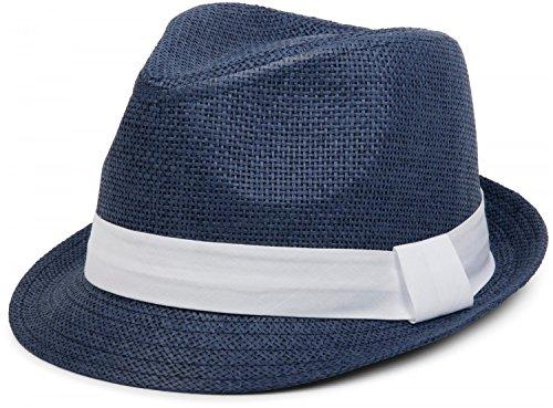 styleBREAKER Trilby Hut, Leichter Papierhut mit kontrastfarbigem Zierband, Unisex 04025002, Farbe:Dunkelblau/Weiß;Größe:S/M = 56 cm