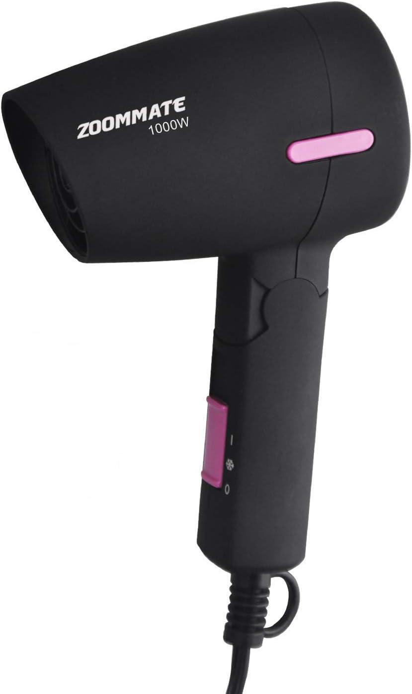 Zoommate - Mini secador de pelo de viaje, 1000 W, secador compacto con mango plegable, caliente y frío, ajuste de 2 velocidades, protección y seguridad, con bolsa, color negro mate