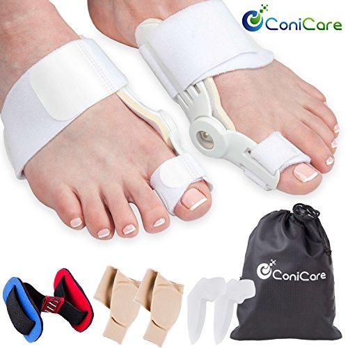 Orthopedic Bunion Corrector Splint and Protector Sleeves Kit - Hallux Valgus Pain Relief, Big Toe Joint,...