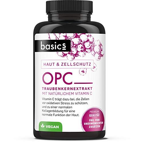 basics OPC Traubenkernextrakt - hochdosiert Kapseln mit 800mg Extrakt je Tagesdosis - Vegan ohne Zusatzstoffe - Aus europäischen Weintrauben (60 Kapseln)